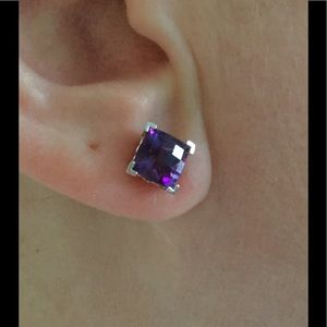 14 K white gold amethyst earrings